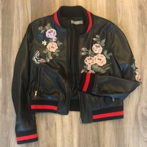 Bagatelle Collection Faux Leather Bomber Jacket